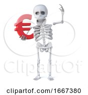 3d Skeleton Holds The Euro Currency Symbol