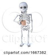 Poster, Art Print Of 3d Skeleton Drinking A Nice Cup Of Tea