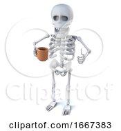 Poster, Art Print Of 3d Skeleton Enjoys A Nice Cup Of Tea
