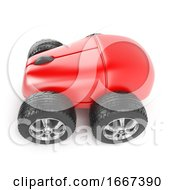 Poster, Art Print Of 3d Red Mouse On Car Wheels