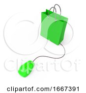 Poster, Art Print Of 3d Mouse Connected To Shopping Bag