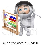 Poster, Art Print Of 3d Astronaut With Abacus