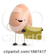 Poster, Art Print Of 3d Cute Toy Egg Has A Yellow Folder