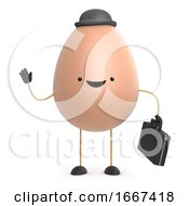 Poster, Art Print Of 3d Cute Toy Egg Works In The City