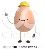 Poster, Art Print Of 3d Cute Toy Egg Wearing A Hard Hat And Waving
