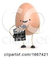 Poster, Art Print Of 3d Cute Toy Egg Makes A Movie