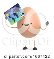 Poster, Art Print Of 3d Cute Toy Egg Pays With A Debit Card