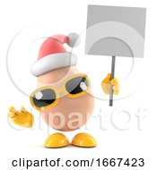 3d Santa Egg With A Placard