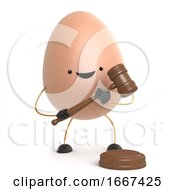 Poster, Art Print Of 3d Cute Toy Egg Is An Auctioneer