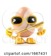 Poster, Art Print Of 3d Egg With A Gold Key