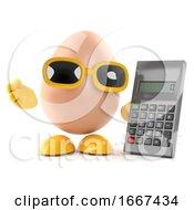 Poster, Art Print Of 3d Egg Uses A Calculator