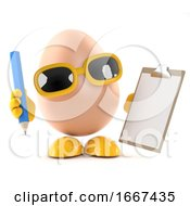Poster, Art Print Of 3d Egg With A Clipboard And Pencil
