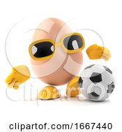 Poster, Art Print Of 3d Egg Plays Football