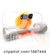 Poster, Art Print Of 3d Baby Chick Lifts Weights