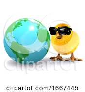 Poster, Art Print Of 3d Chick Studies A Globe Of The Earth