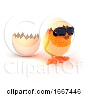Poster, Art Print Of 3d Easter Chick Runs From The Egg
