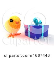 Poster, Art Print Of 3d Easter Chick Blue Present
