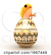 Poster, Art Print Of 3d Easter Chick Sits On A Golden Egg
