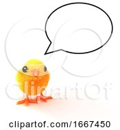 Poster, Art Print Of 3d Baby Chick With Speech Balloon