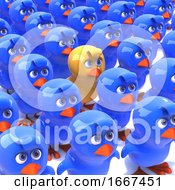 Poster, Art Print Of 3d Yellow Chick Stands Out From Crowd Of Blue Chicks