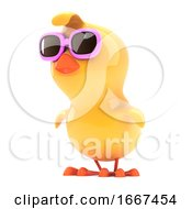 Chick In Pink Sunglasses Looks To The Side