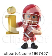 3d American Footballer Holding A Gold Information Symbol