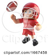 3d American Footballer Leaps For The Football