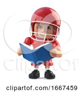 3d American Footballer Reading A Book