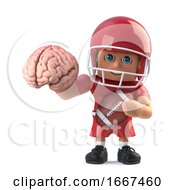 3d American Football Player Has A Brain