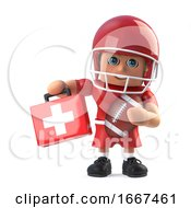 3d American Footbaler Arrives With First Aid Medical Kit by Steve Young