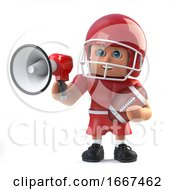 3d American Foorballer Using A Megaphone by Steve Young