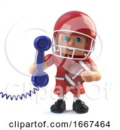 3d American Football Plater Answers The Phone