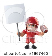3d American Footballer Holding A Placard And Football