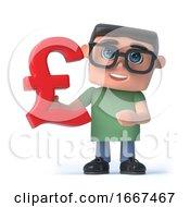 3d Boy In Glasses Holds UK Pounds Sterling Symbol