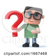 3d Boy In Glasses Holds A Red Question Mark