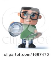 3d Boy In Glasses With A Silver Tray