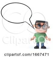 3d Boy In Glasses With A Speech Balloon