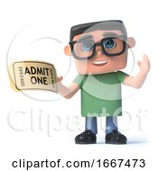 3d Boy In Glasses Has A Ticket For The Show