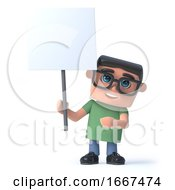 3d Boy In Glasses Holding A Blank Placard