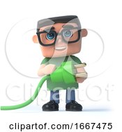 3d Boy In Glasses Uses Green Energy