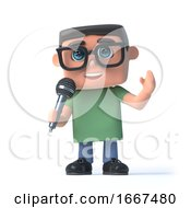3d Boy In Glasses Sings Into A Microphone