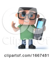 3d Boy In Glasses Talks On His Cellphone