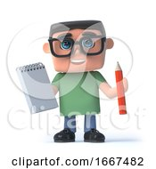 3d Kid In Glasses Has A Notepad And Pencil