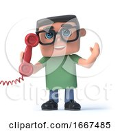 3d Boy In Glasses Answers The Red Phone