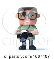 3d Boy In Glasses Holding A Camera
