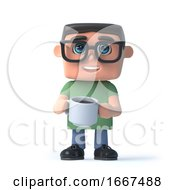 Poster, Art Print Of 3d Boy In Glasses Drinking A Coffee
