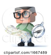 3d Boy Wearing Glasses Using A Compass And Map