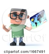 3d Boy Wearing Glasses Pays With A Credit Card