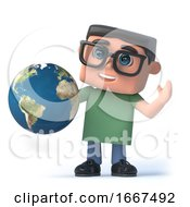 3d Boy In Glasses Holds A Globe Of The Earth