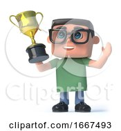 3d Boy In Glasses Wins The Gold Cup Trophy